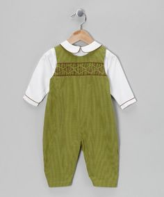 Take a look at this Green Gingham Layered Playsuit - Infant by Petit Pomme on #zulily today!