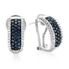 PLATINUM & SS 1.00CTW GENUINE BLUE WHITE DIAMOND SNAP BACK HOOP EARRINGS + GIFT  #EXCEPTIONALBUY #Hoop