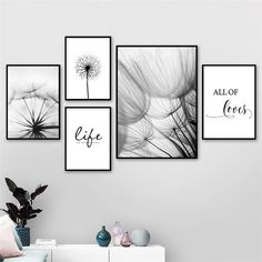 Nordic Dandelion Art Canvas Painting Posters And Prints Black White Loves Life Quotes Wall Pictures For Living Room Decor White Wall Decor, Wall Art Decor, Wall Decor Quotes, Wall Mural, Poster Mural, Poster Wall, Poster Prints, Art Print, Dandelion Art