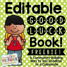 This Editable Good Luck Book! is a Community-Building Writing Activity for saying goodbye to a classmate who is moving away or transferring schools. The Editable PowerPoint File includes a variety of full color cover options for both boy and girl students, writing templates with dotted and solid lined paper, a blank template for creating your own book introduction, and a sample book introduction page.