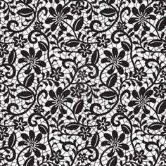 black seamless lace pattern on white background  Stock Photo - 15307026
