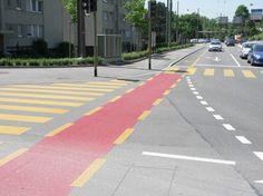 Red bike lane in conflict zone, Winterthur, Switzerland. Photo by James Mackay