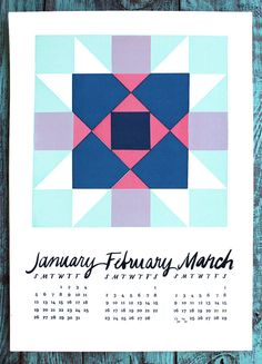 Wall Calendar 2014 Screen print Quilt Quarterly by thehungryfox