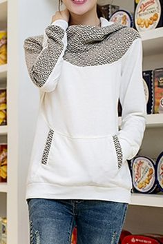 Stylish Hooded Long Sleeve Spliced Loose-Fitting Hoodie For Women