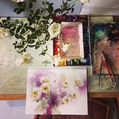 White and purple... #art #watercolor #paint #painting #rose #roses #purple…