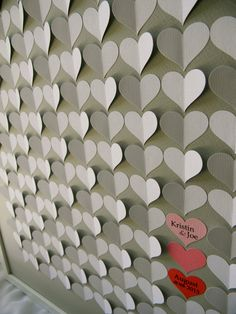 Wedding guest book alternative. Large size 3D paper hearts lovely bridal shower gift. modern guestbook for the bride and groom great gift on Etsy, $169.00