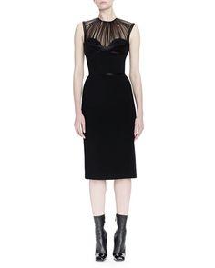 ALEXANDER MCQUEEN Pleated Tulle Bustier Sheath Dress. #alexandermcqueen #cloth #dress