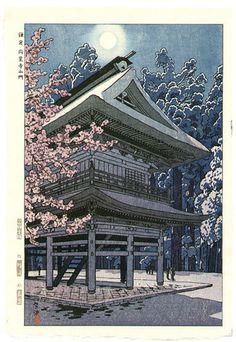 Kasamatsu Shiro: Moon and Engaku Temple - Artelino