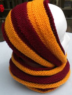 Cowl Scarf Team Colors Harry Potter HandKnit in by NiseesNeedles