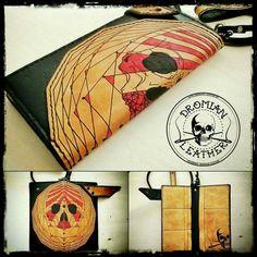 Geometric tattoo long leather wallet