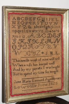 RARE ANTIQUE EARLY AMERICAN CHILD'S NEEDLEWORK SAMPLER DATED LOWVILLE JUNE 1825