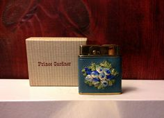 Working Prince Gardner Pocket Lighter With Embroidered Flowers in Blues by TheLeafery on Etsy, $32.00