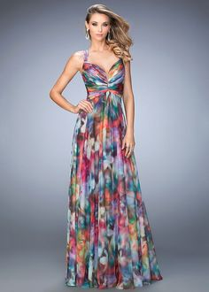 La Femme 22355 Colorful Watercolor Print Chiffon Gown