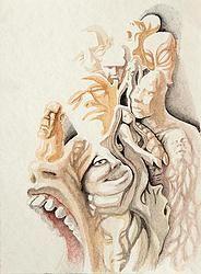 """""""Fusion 27"""" von Matthias Triet   Acryl auf Aquarellpapier   24 x 32 cm   www.einfachKunst.ch   Art   Basel   Schweiz"""