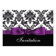 purple  damask wedding Invitations, change the purple to red and perfect!