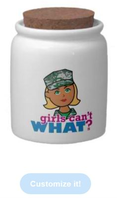 Store your snacks and treats in style with a custom candy jar from Zazzle. Made of bright white porcelain, this candy jar has a brilliant luster that makes your photos, text, and designs look amazing. Dishwasher and microwave approved, your hard candy will be safe and secure in a custom candy jar from Zazzle. http://www.girlscantwhat.com/personalized-gifts/marine/   #girlscantwhat #girlpower #marine #candyjar