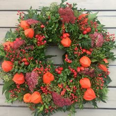 Autumn Decorating, Fall Decor, Autumn Wreaths, Christmas Wreaths, Wreaths And Garlands, Fall Flowers, Berries, Floral Wreath, Projects To Try