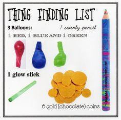 """""""Thing Finding List"""" - each party guest received one for the Thing Finding Game at Clare's Pippi Longstocking party"""