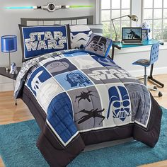 My son will be so excited when he see's his new Star Wars themed bedroom! #starwars #bedding #blue #boysbedroom