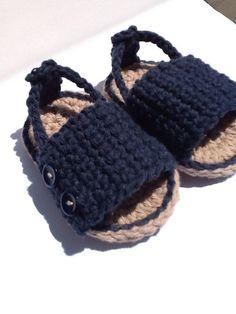 Crochet Baby Sandal - sizes 0-6 months, 6-12 months - Baby Boy - Baby Girl - S100 via Etsy