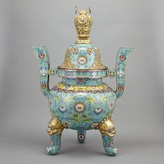 Chinese Cloisonne Enamel Five-Piece Garniture Set - by Doyle New York #asiaweek