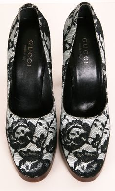 Gucci Black and Light Blue Lace Pump with Wooden Heel