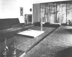 Vista de la estancia, Casa en Coyoacán, av. Pacífico 180, Los Reyes - El Rosedal, Coyoacán, México DF 1961 (destoyed)  Arq. Juan José Díaz Infante -   View of the living room, Casa en Coyoacan, av. Pacífico 180, Los Reyes - El Rosedal, Coyoacan, Maxico City 1961 (destoyed)