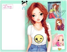 Cute Girl Drawing, Cute Drawings, Blonde Redhead, Drawings Of Friends, Alphabet Design, Cartoon People, Party Tops, Bff Pictures, Cute Dolls