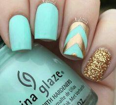china glaze, gold, mint, nail polish, nails, summer, summer nails