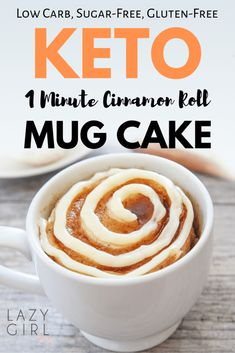 1 Minute Low Carb Keto Cinnamon Roll Mug Cake Recipe - perfect when you need a delicious dessert in a flash. This super easy to make healthy 1 Minute Low Carb Cinnamon Roll Mug Cake is also naturally gluten-free, vegan, paleo and sugar-free! Keto Dessert Easy, Köstliche Desserts, Low Carb Desserts, Low Carb Recipes, Steak Recipes, Dessert Recipes, Pancake Recipes, Ham Recipes, Snacks Recipes
