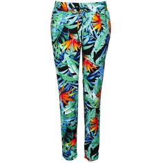 Tropical Leaf Ruched Trousers (€16) found on Polyvore