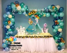 New Party Table Decorations Diy Tutus 56 Ideas Frozen Fever Cake, Festa Frozen Fever, Frozen Themed Birthday Party, Birthday Parties, 4th Birthday, Birthday Ideas, Diy Party Table Decorations, Frozen Balloons, Frozen Balloon Decorations
