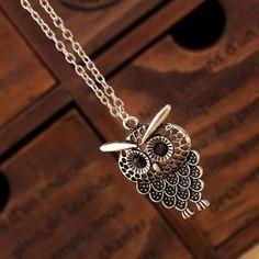 Women Pretty Stone Shy Owl Pendant Retro Silver Bronze Alloy Metal Long Necklace