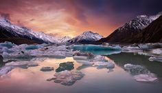 Sunset at Lake Tasman, Mount Cook, South Island, New Zealand.  Landscape photography by Darren J Bennett.