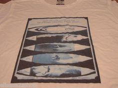 Mens O'Neill XL t shirt white bygone surf boards NEW NWT 411S18301 competition
