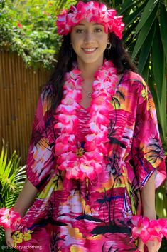Ladies Pink Sunset Floral Kaftan with Lei Set - soft and comfortable beach cover up. Throw this delightful caftan over your bikinis or jeans for a day at the beach, cruising or casual wear. Lots of colours and patterns to choose from. #poncho #kaftan #bikini #beachcoverup #caftan #plumeria #luau #luauparty #coverup #beachwear #cruise #cruisewear #luau #luauparty #luaupartycostume #fancydress #luaudress #hawaiiancostume