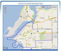 Fremantle's Historic West End Map - Boundaries of the Historic West End of Fremantle, Western Australia Palmyra, Local Events, West End, Western Australia, Maps, City, Google, Cities, Map