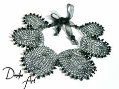Black Crochet wire necklace, Donika Art