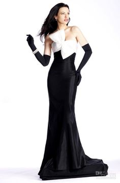 36395844485 Wholesale Slinky white Black Taffeta strapless mermaid bow floor length  sleeveless Prom dress evening dresses
