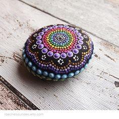 Aboriginal Dot Art Painted Rock Rainbow design by RaechelSaunders