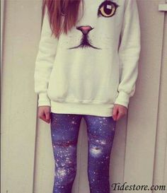 Cat sweater. LOVE the sweater and leggings.