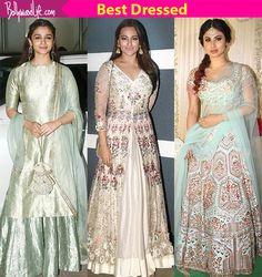 Check out the best dressed celebs at Ekta Kapoor's Diwali bash - Alia Bhatt, Sonakshi Sinha, Mouni Roy teach you the power of simplicity with their stunning attires at Ekta Kapoor's Diwali bash Sonakshi Sinha, Alia Bhatt, Bridesmaid Dresses, Wedding Dresses, Diwali, Nice Dresses, Bollywood, Sari, Celebs