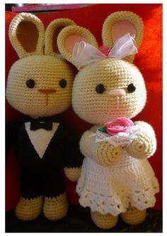 Crochet Wedding Bunny Set  ༺✿ƬⱤღ✿༻