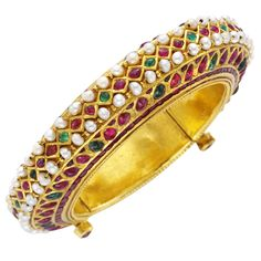 Antique Indian Bangle | From a unique collection of vintage bangles at http://www.1stdibs.com/jewelry/bracelets/bangles/