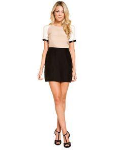 "Kimberly Taylor ""Jackie"" Black & Natural Silk Short Sleeve Dress"