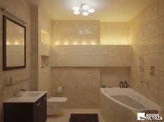 Łazienka Budapest - klasyczna łazienka w beżach i brązach. Projekt gratis
