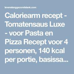 Caloriearm recept - Tomatensaus Luxe - voor Pasta en Pizza Recept voor 4 personen, 140 kcal per portie, basissaus voor feestelijke dagen Ingrediënten: 1 kg vleestomaten 1 Spaanse peper 1 ui 2 teentjes knoflook 2 el olijfolie 1/8 l rode wijn zout en peper 1/2 bosje peterselie 1/2 bosje verse basilicum 1 el crème fraîche…