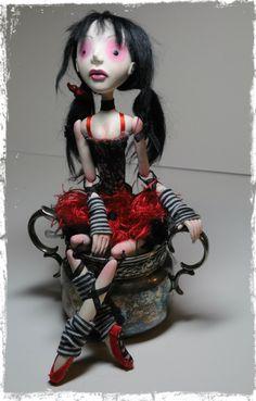 OOAK art doll, Goth Ballerina-Scarlett by Richelle Clementson