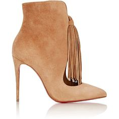 Christian Louboutin Fringed Ottocarl Ankle Boots ($1,345) ❤ liked on Polyvore featuring shoes, boots, ankle booties, ankle boots, heels, sapatos, nude, fringe boots, high heel booties and suede fringe booties