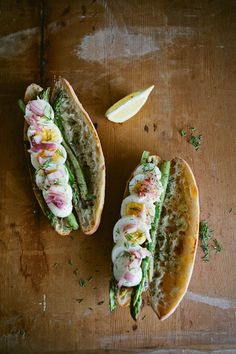 Spring Sandwich: Boiled Egg, Seared Asparagus & Pickled Onion.